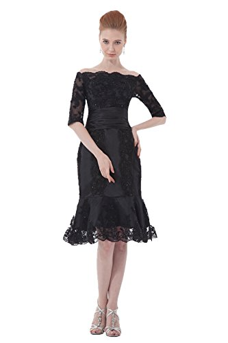 Snowskite Women's Off Shoulder Mermaid Half Sleeves Lace Mother of Bride Dress Black 12