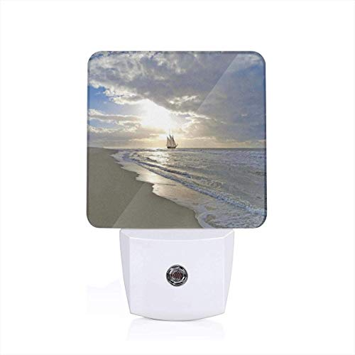 Colorful Plug in Night,A Sailing Ship Close to Sandy Beach in Moody Sunset Paradise Tropical Theme,Auto Sensor LED Dusk to Dawn Night Light Plug in Indoor for Childs Adults -
