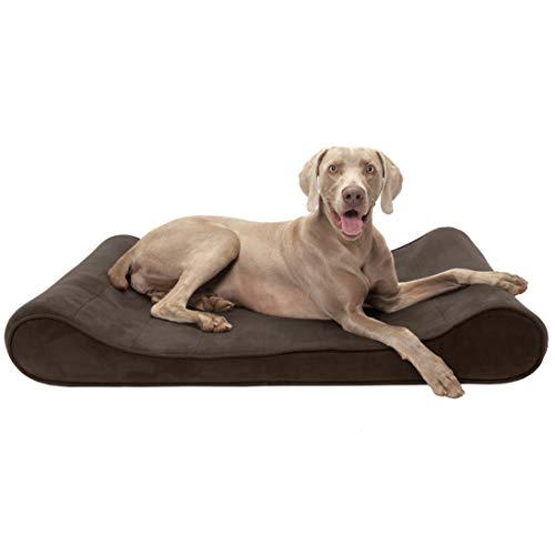 FurHaven Pet Dog Bed | Orthopedic Microvelvet Luxe Lounger Pet Bed for Dogs & Cats, Espresso, Jumbo