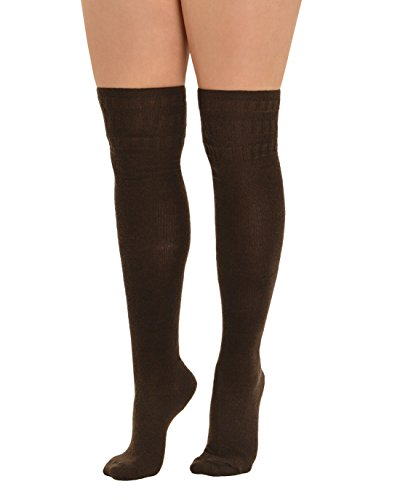 (Womens Over the Knee Socks Cashmere Blend Thigh High Socks Gift Ideas Color:: Espresso )