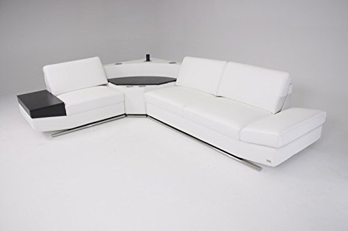 VIG Furniture Divani Casa K8464 – Modern White Leather Sectional Sofa with Audio Center
