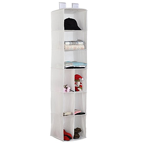 Housen Solutions Hanging Closet Organizer Storage Shelves, 9-Shelf Collapsible Accessory Hanging Shelves for Clothes & Shoes Organizing, White