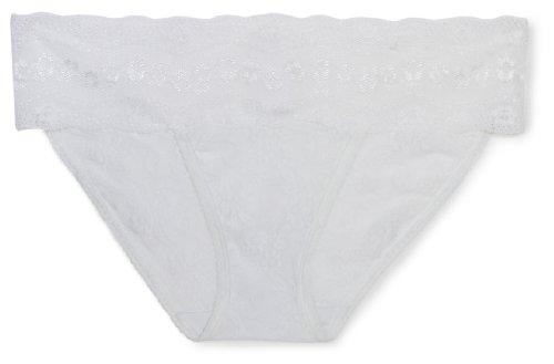 b.tempt'd by Wacoal Women's Lace Kiss Bikini Panty,White,Small