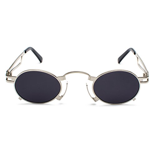 Punk Glasses Men Grey Sunglasses Frame Small Silver Unisex Vintage Glasses CVOO Gothic Steam Eyewear Punk Goggles Cosplay qzwtn5