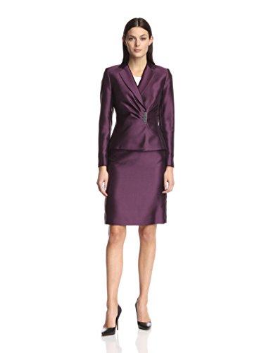 Tahari ASL Rob Wrap Front Embellished Skirt Suit (2, Eggplant) -