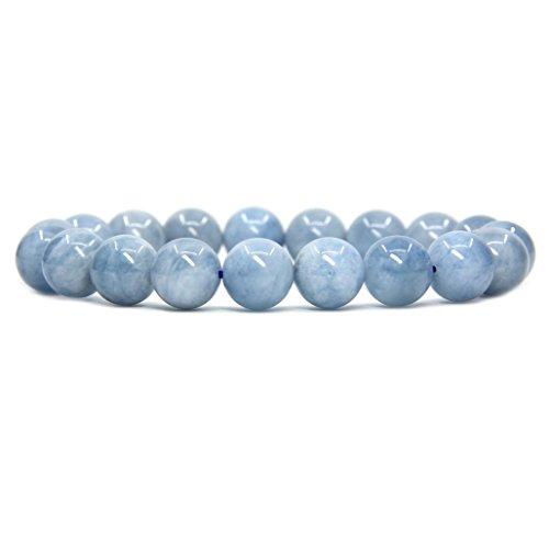 Amandastone Natural A Grade Aquamarine Genuine Semi-Precious Gemstones Healing 10mm Beaded Stretch Bracelet 7