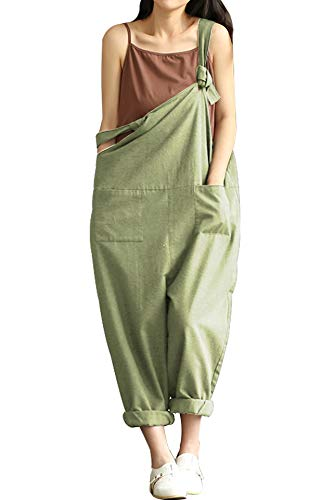 Lncropo Women Large Plus Size Baggy Linen Overalls Casual Wide Leg Pants Sleeveless Rompers Jumpsuit Vintage Haren Overalls (M,Green)