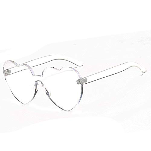 JJLIKER Oversized One Piece Clear Lens Rimless Tinted Sunglasses Fashion Lovely Heart Candy Color Goggles for Women ()