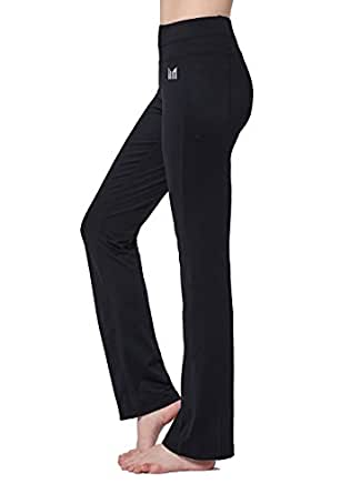 MOFEVER Women Black Mid Waist Yoga Pants Straight Leg Cut Non see-through Fabric Tummy Control Hidden Inner Pocket Slimming Activewear for Fitness Running Workout Gym (XL)