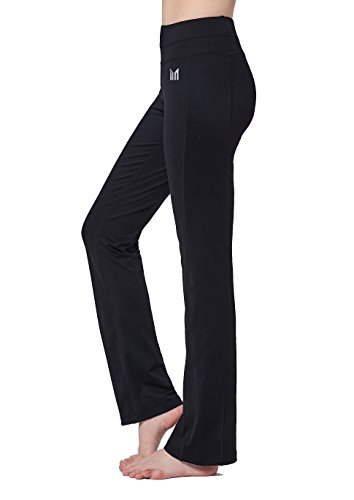 Active Run Straight Pant (Women Black Mid Waist Yoga Pants Straight Leg Cut Non See-Through Fabric Tummy Control Hidden Inner Pocket Slimming Activewear For Fitness Running Workout Gym (S))