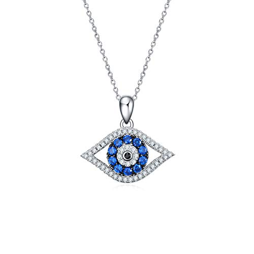 PEIMKO 925 Sterling Silver Evil Eye Pendant Necklace for Women Girls, Evil Eye Amulet Necklace Sterling Silver for Men Kids