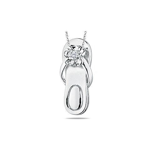 0.03-0.05 Cts SI2 - I1 clarity and I-J color Diamond Solitaire Sandal Pendant in 14K White Gold.