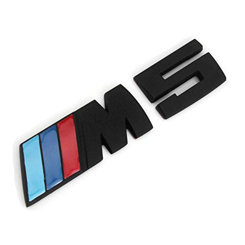 XUXU521 3D Auto Car M M3 M4 M5 M6 Rear Fender Tailgate Fenders Lettering Emblem Badge Sticker Decals for BMW 1 3 5 7 Series E30 E36 E46 E34 E39 E60 E65 E38 (Black, M5) ()