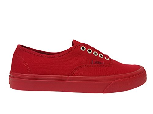Vans Authentic (Primary Mono) Red/Silver Skate Shoe (Vans Red Women)
