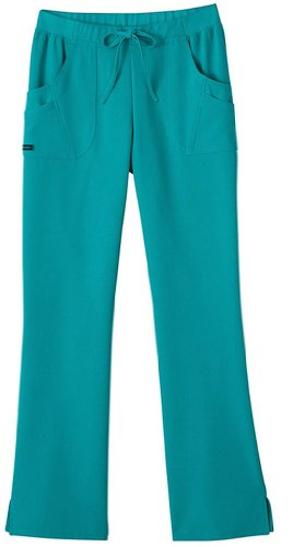 Jockey Classic Fit Womens Rib Trim Combo Comfort Scrub Pant (Teal, X-Small Petite)