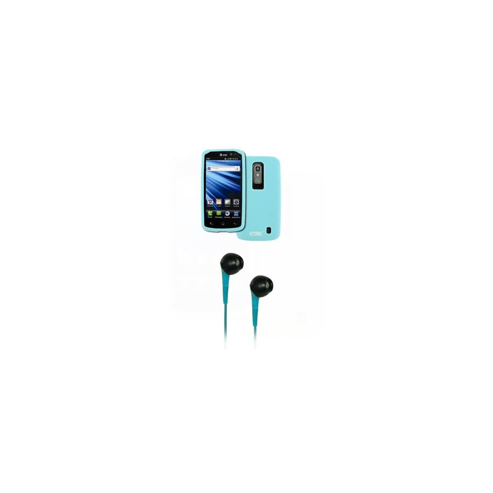 EMPIRE LG Nitro HD Light Blue Silicone Skin Case Cover + Light Blue 3.5mm Stereo Headphones [EMPIRE Packaging]
