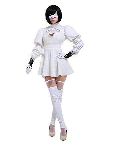 miccostumes Women's 2b White Two-Piece Dress Outfit No 2 Type B Cosplay Costume Leotard Skirt (L, White)