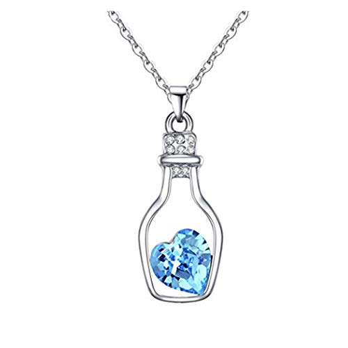 (Women Drift Bottle Necklace Austria Crystal Heart Necklace - Love Secrets Bottle Jewelry)