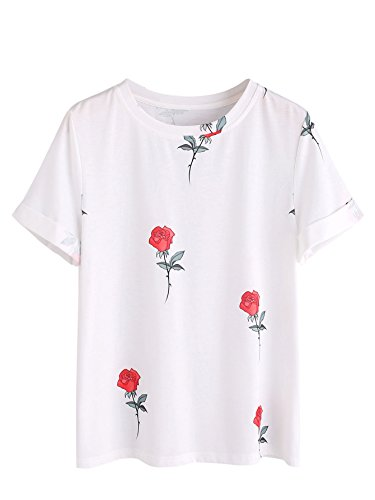 SheIn Women's Casual Round Neck Rose Floral Print Short Sleeve Summer Tee Tshirt White Medium (T-shirt Womens 07)