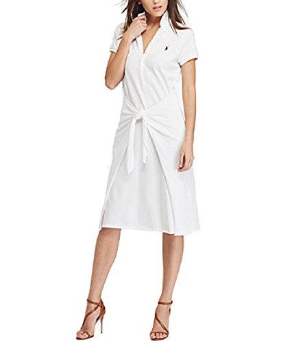 Polo Ralph Lauren Tie-Front Cotton Polo Dress (White, S)