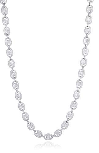 (JOTW Sterling Silver 10.3mm 26 Inch Micro Pave Puffed Anchor Mariner Chain Necklace)