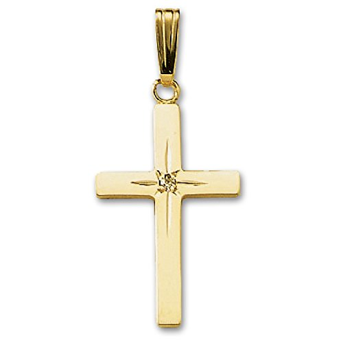 14k Gold Mens Diamond Cross (Genuine 14K Yellow Gold Cross with Diamond Pendant (1/2