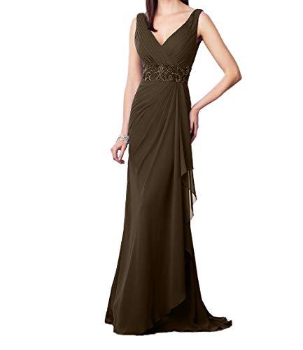 Promkleider Pailletten Braun Charmant V Ausschnitt Perlen Abendkleider Damen mit Festlichkleider Ballkleider Elegant AqYvg