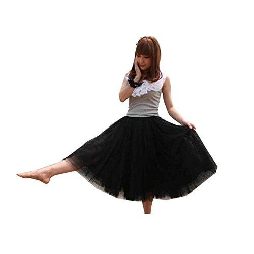 Youcanshine Femmes mariage fte danse classique taille lastique maxi t 5 couche Jupe Tutu Longue Long Skirt Noir