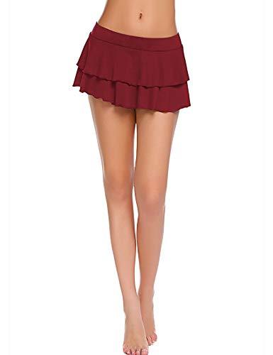 Avidlove Women's Flirty Double Layered Ruffle Mini Skirt Wine Red L