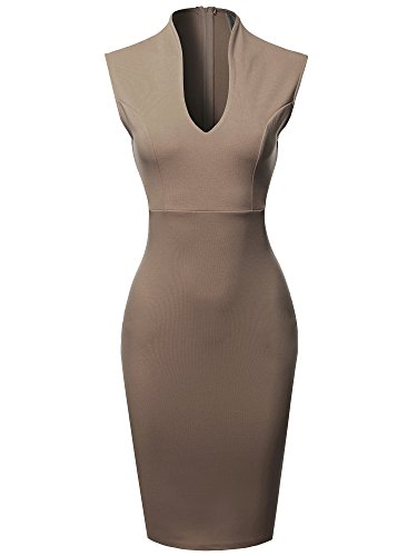 Made by Emma Fitted Elegant Sleeveless Formal Cocktail Party Pencil Midi Dress Mocha S