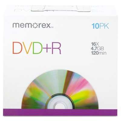 Memorex DVD+R Discs, 4.7GB, 16x, w/Slim Jewel Cases, Silver, 10/Pack