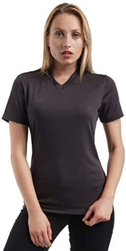 100% NZ Organic Merino Wool Lightweight Women's Base Layer Thermal T-Shirt Short Sleeve V-Neck Tee
