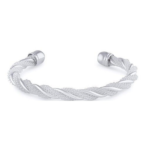 Amythyst Silver Tone Stainless Steel Braided / Twist Mesh Rope Open End Cuff Bangle