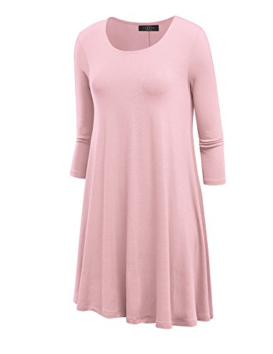 LL WDR930 Womens Round Neck 3/4 Sleeves Trapeze Dress with Pockets XXXL PINK