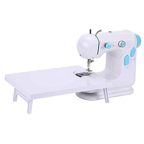 Portable Sewing Machine with Extension Table and Foot Pedal, Adjustable 2-Speed Beginner's Sewing Machine(Blue)