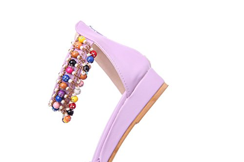 Amoonyfashion Femmes Solide Pu Bas-talons Ouvert Toe Fermeture À Glissière Cales-sandales Violet