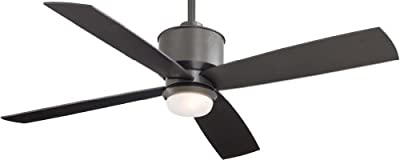 "Minka-Aire F734-SI, Strata Smoked Iron 52"" Outdoor Ceiling Fan with Light & Remote Control"