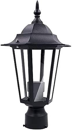 Outdoor Post Light Pole Lantern Fixture One-Light, Post Pole Light Outdoor Garden Patio Driveway Yard Lantern Lamp Fixture Black 13.4x7.5x2.5inch, 60watt Medium Base Bulb (Not Included)