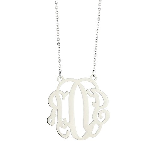 (Personalized Monogram Necklace Initial Pendant Necklace Stainless Steel Hanging Woman (Silver))