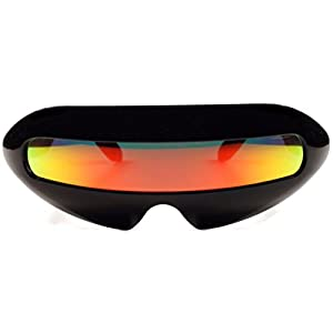Futuristic Cyclops Mirror Single Lens Oval Sunglasses (Red Sunset Lens)