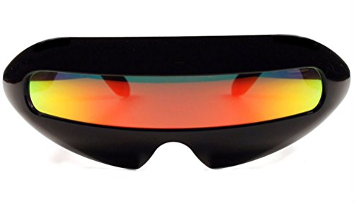 [Futuristic Cyclops Mirror Single Lens Oval Sunglasses (Red Sunset Lens)] (Alien Costume Woman)