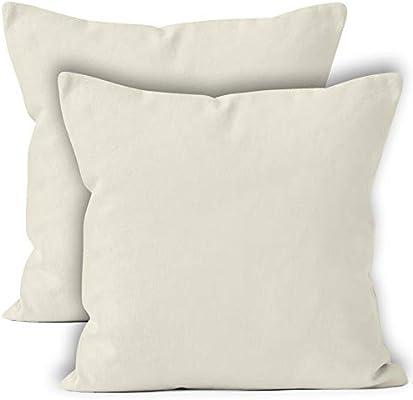 Encasa Homes Fundas de Cojines 2 Piezas (60x60 cm) - Natural - Lona de algodón teñida Forma sólida, Decorativa, Grande y Colorida, Lavable Funda ...