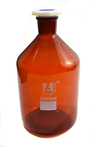 Eisco Labs 2000 ml Amber Reagent Bottle, Narrow Mouth with Acid Proof Polypropylene stopper, socket size 34/35