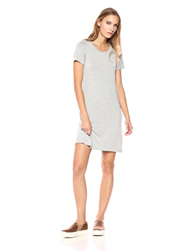 Amazon Brand - Daily Ritual Women's Jersey Short-Sleeve Scoop Neck T-Shirt Dress, Light Heather Grey, X-Small