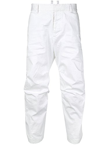 DSQUARED2 Men's S74kb0136s39021100 White Cotton Pants (Casual Dsquared2 Pants)
