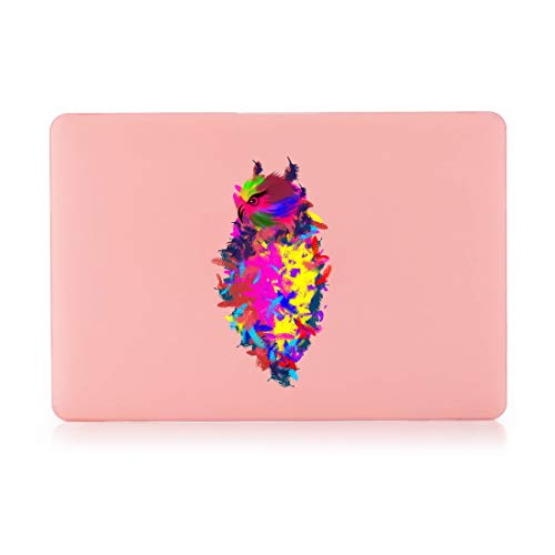 Prolife Plastic Hard Case Cover for MacBook Air 13 Inch (Models: A1369 & A1466, Older Version Release 2010-2017) - Pastel Pink-Colored Owl - 2012 Pink Owl