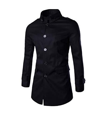 Mens In Giù lungo Nera Medio Forma Giacca Outwear Cintura Con Mogogo Originale Girano FqxawZd6W