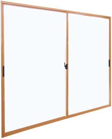 返品・キャンセル不可品 メーカー受注生産品 2枚建 引違い窓 ポリカ 樹脂板 簡単すっきり内窓 楽窓 楽窓2 SEIKI セイキ販売 W1700mm×H1550mmまでサイズオーダー ガラス-透明(3mm) 外ダークブロンズ・内ナチュラル