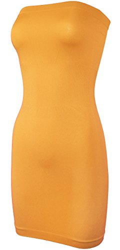 KMystic Seamless Strapless Tube Slip Dress (Mustard)