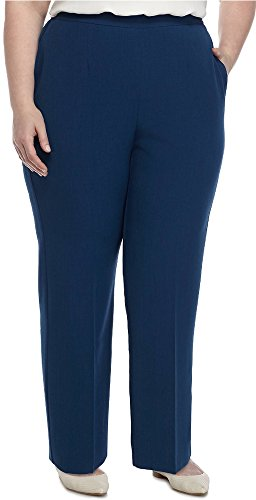Alfred Dunner Women's Plus Size Medium Length Classic Fit Pants, Lapis (22W) by Alfred Dunner